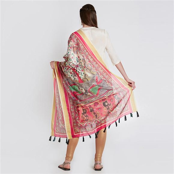Fancy Cream Color Printed Dupatta Chanderi Silk For Traditional Wear