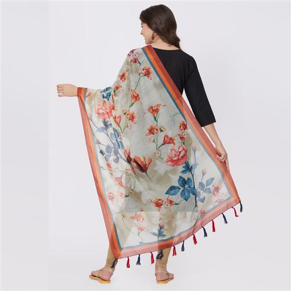 Fancy Dark Cream Color Floral Print Dupatta Chanderi Silk For Traditional Wear