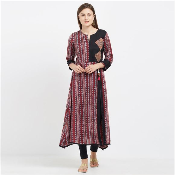 Elegant Maroon And Grey Color Viscose Rayon Kurti