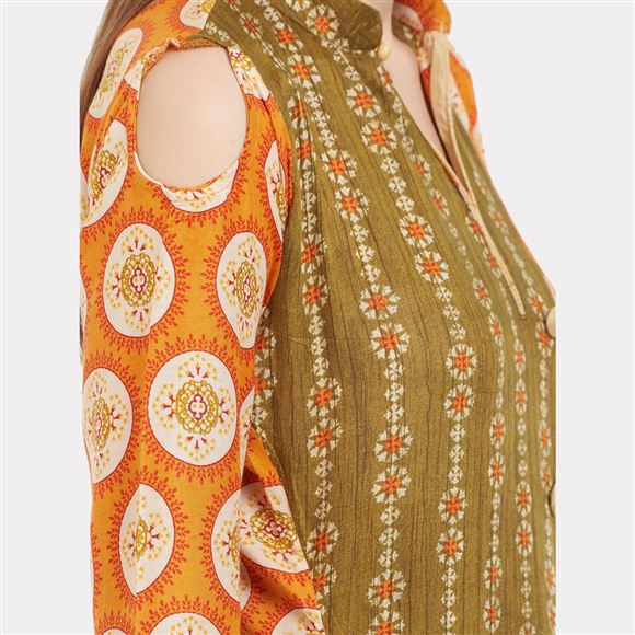 Elegant Mehendi Green And Orange Color Viscose Rayon Kurti