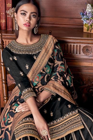 Embroidered Black Color Banglori Silk Fabric Designer Palazzo Suit