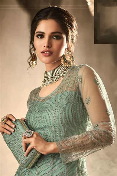 Embroidered Light Cyan Net Fabric Function Wear Anarkali Suit