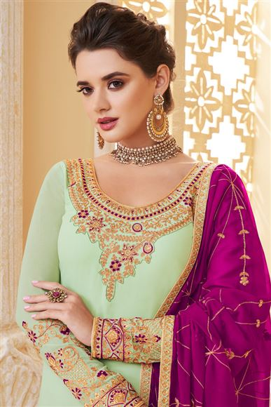 Embroidery Designs On Georgette Fabric Light Cyan Color Function Wear Palazzo Salwar Suit