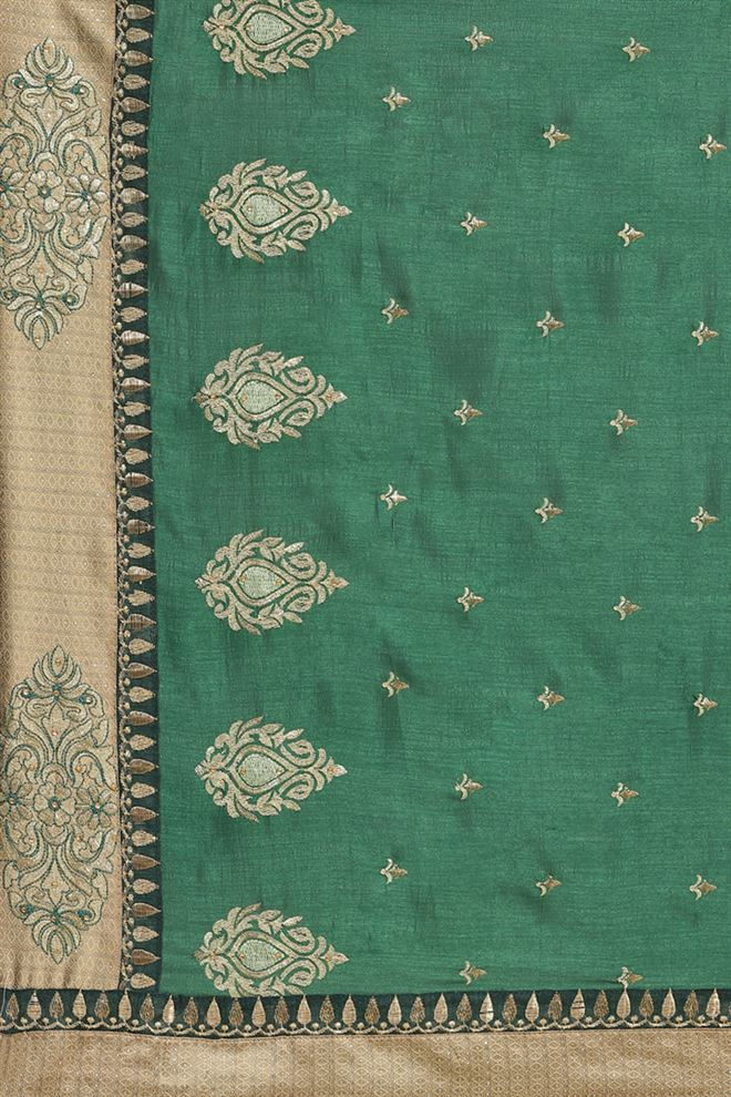 Faserz Embroidery Work Green Color Designer Saree In Art Silk Fabric