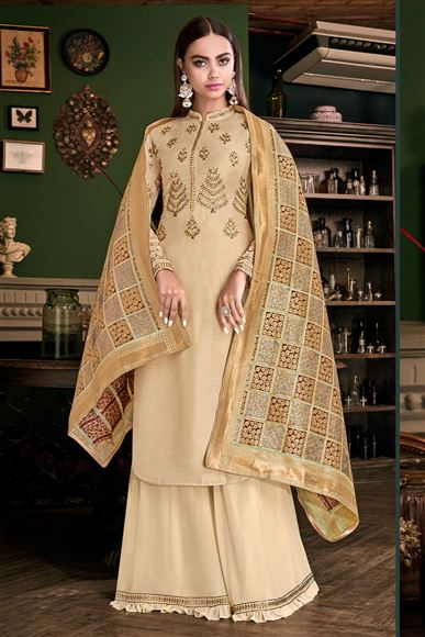 Embroidery Work Party Wear Cream Color Palazzo Suit In Satin Fabric