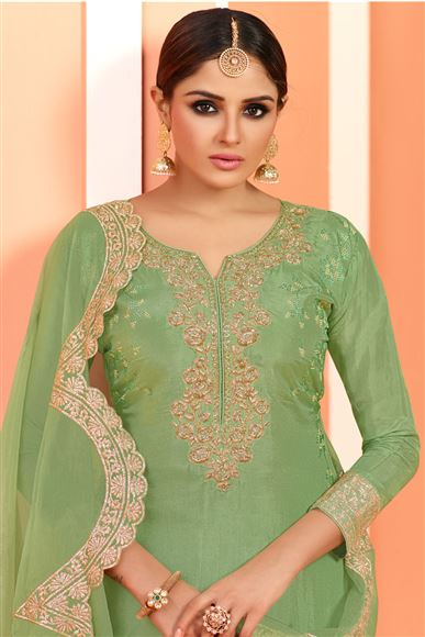 Embroidery Work Party Wear Georgette Sharara Palazzo Suit In Green Color