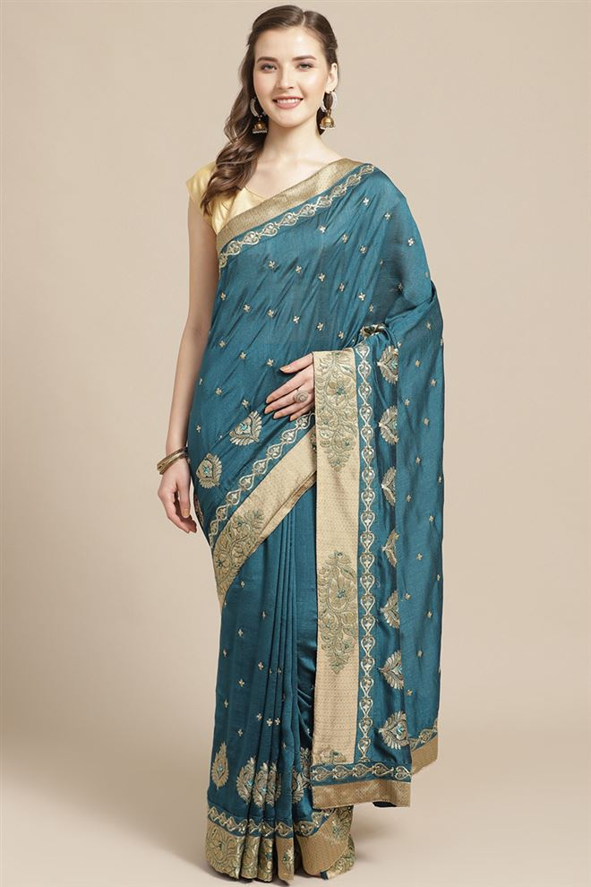 Embroidery Work Rama Color Art Silk Fabric Function Wear Saree