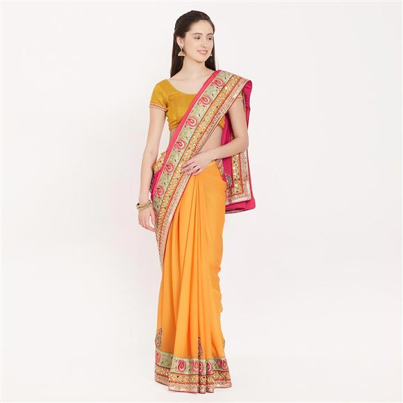 Enchanting Chiffon Saree With Border Work For Party Wear