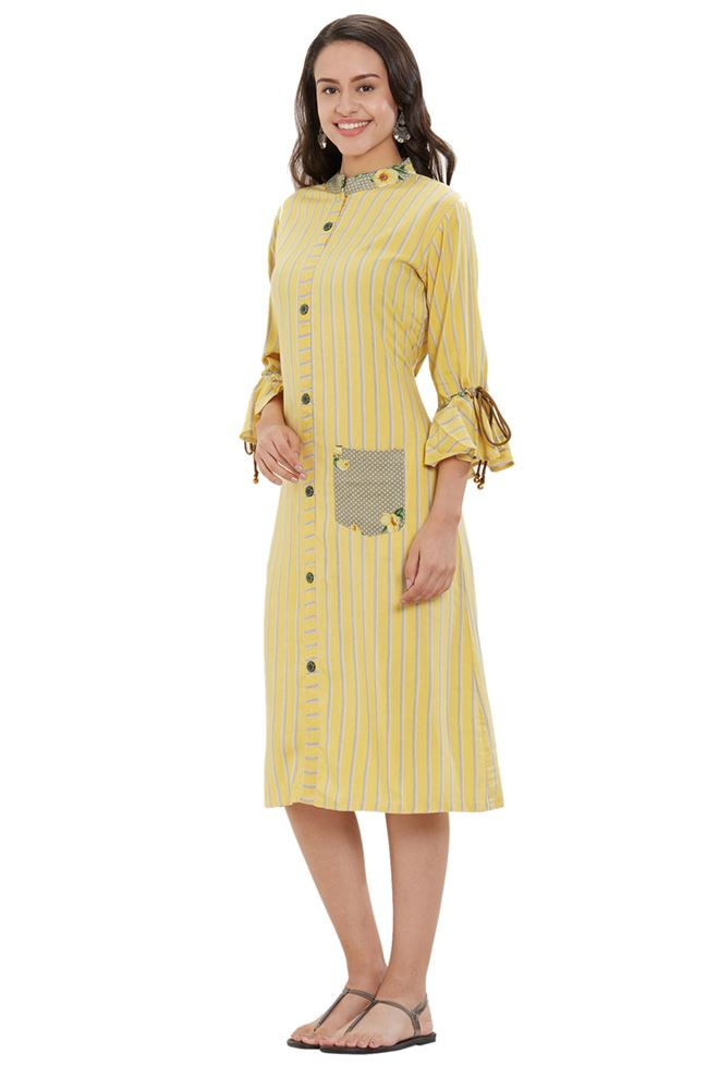 Exquisite Occasion Wear Lemon Color Rayon Kurtis with Geometric Print