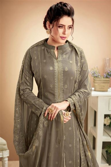 Fancy Fabric Casual Style Embroidered Dark Beige Palazzo Suit
