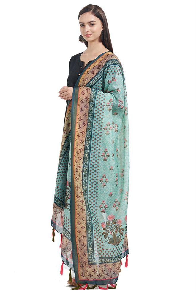 Fancy Printed Designs On Chanderi Sky Blue Color Function Wear Dupatta