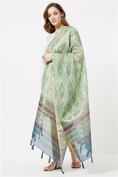 Fancy Printed Designs On Cotton Silk Beige And Green Color Function Wear Dupatta