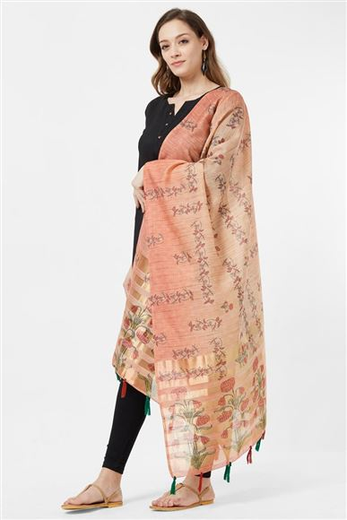 Fancy Printed Designs On Cotton Silk Pink And Beige Color Function Wear Dupatta