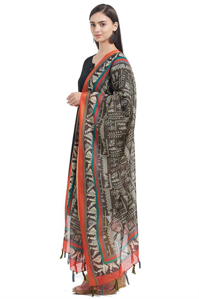 Fancy Printed Designs On Mehndi Green Color Chanderi Festive Wear Dupatta