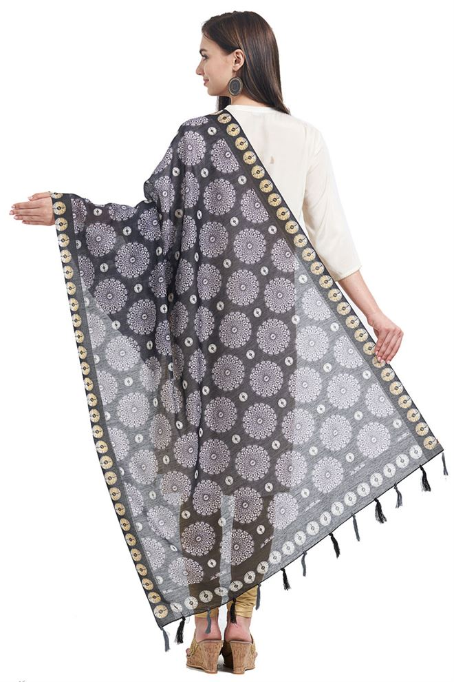 Fancy Printed Party Wear Black Color Chanderi Designer Dupatta