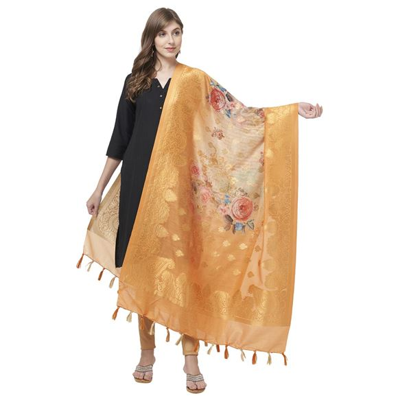 Faserz All Occasion Gold Color Floral Print Dupatta