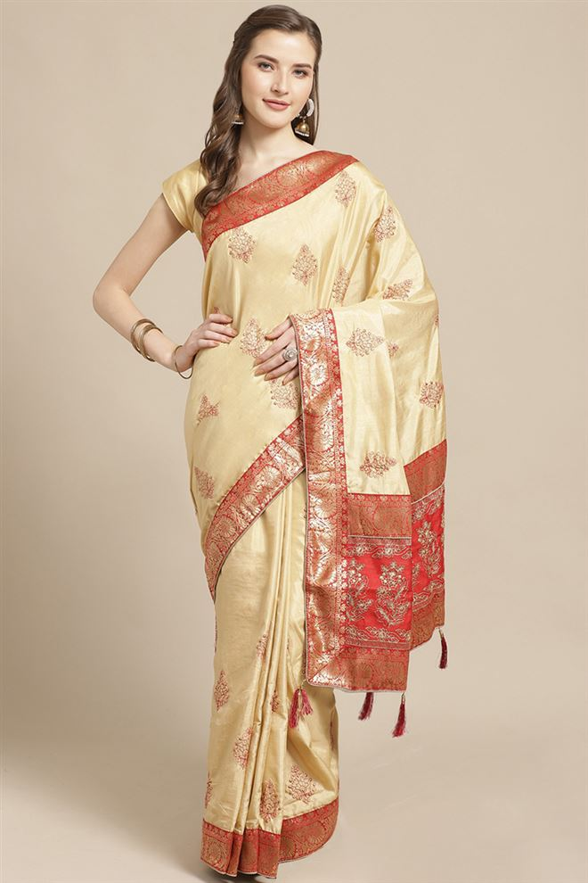 Art Silk Fabric Beige Color Designer Saree With Embroidery Work And Party Wear Blouse