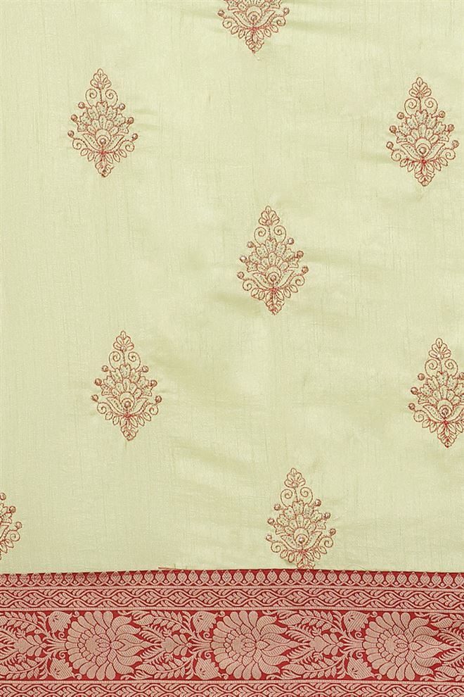 Art Silk Fabric Designer Saree In Cream Color With Embroidery Work
