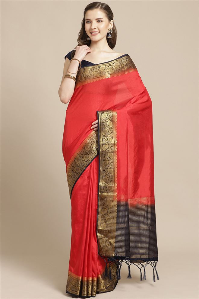 Faserz Art Silk Fabric Red Color Designer Saree With Weaving Work And Party Wear Blouse