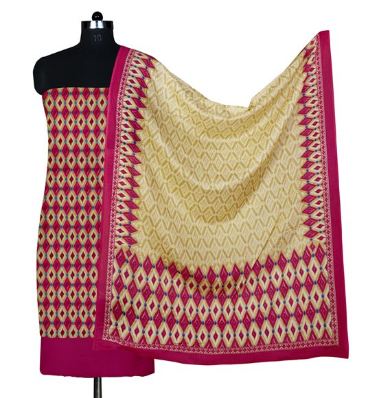 Faserz Beige and Pink Colored Cotton Suit Dupatta