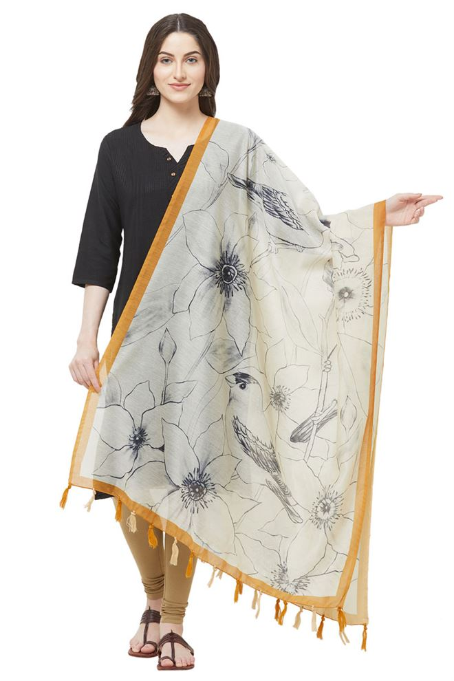 Faserz Bold Floral Print Off White Dupatta