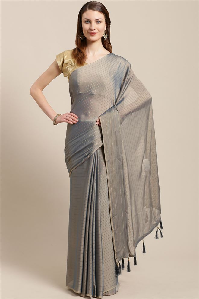 Faserz Chiffon Fabric Function Wear Fancy Grey Color Saree