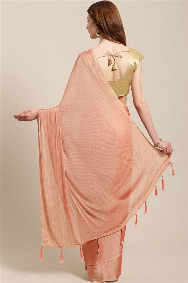 Chiffon Fabric Function Wear Fancy Orange Color Saree