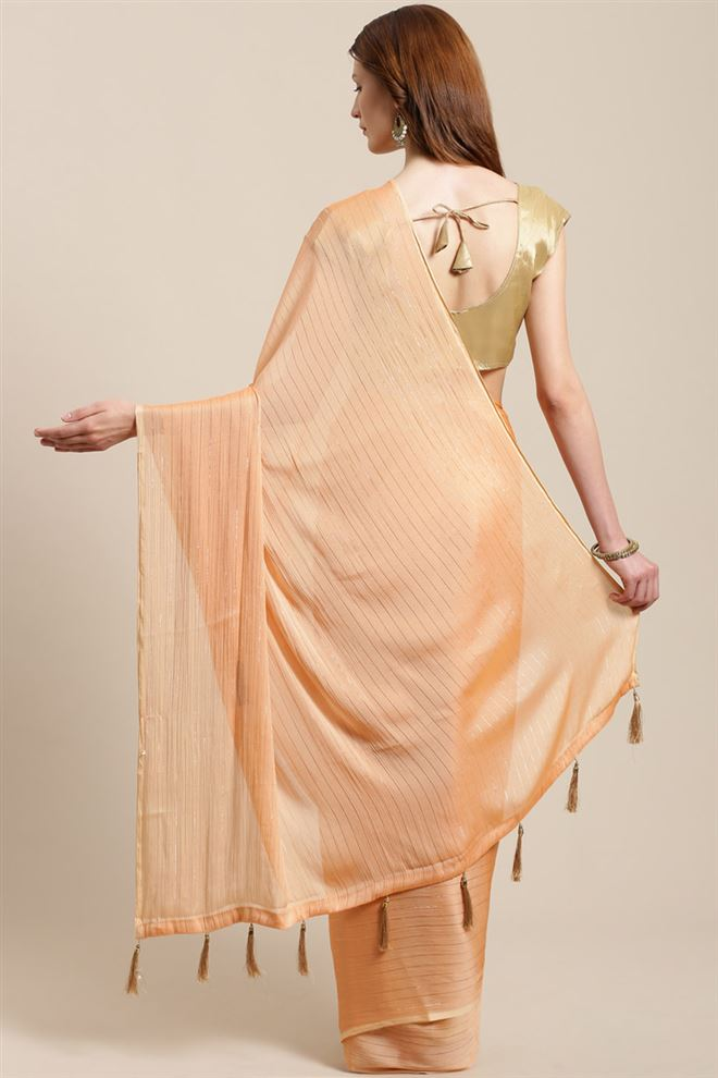 Chiffon Fabric Function Wear Fancy Peach Color Saree