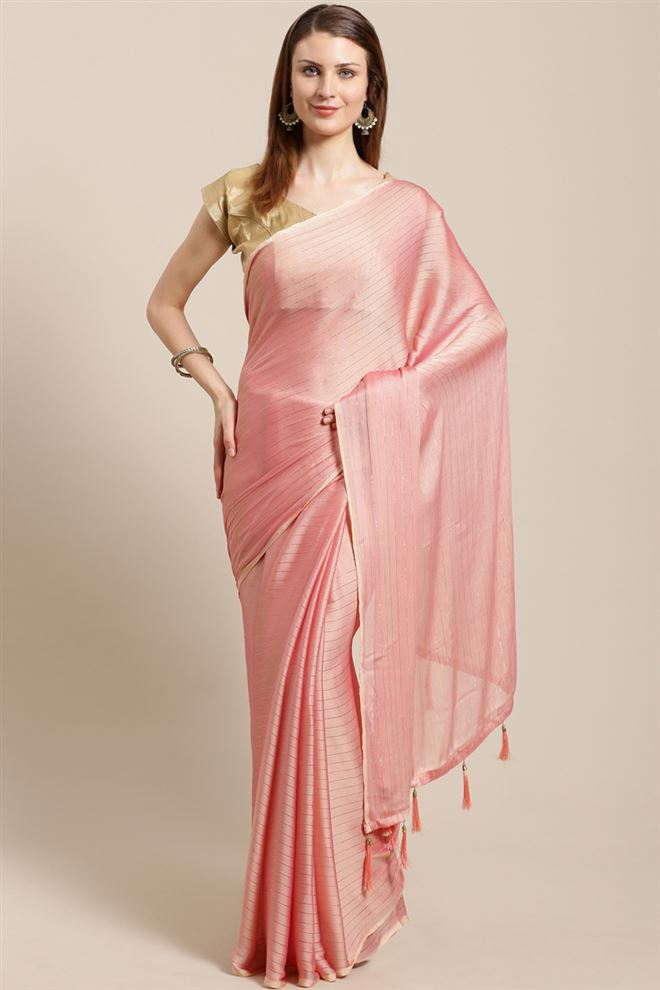 Chiffon Fabric Function Wear Fancy Pink Color Saree