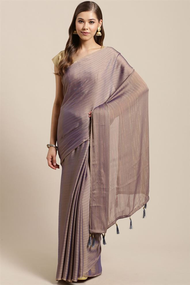 Faserz Chiffon Fabric Function Wear Fancy Purple Color Saree