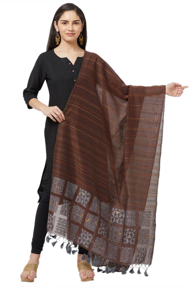Faserz Coffee Color Woven Matka Silk Jamdani Dupatta