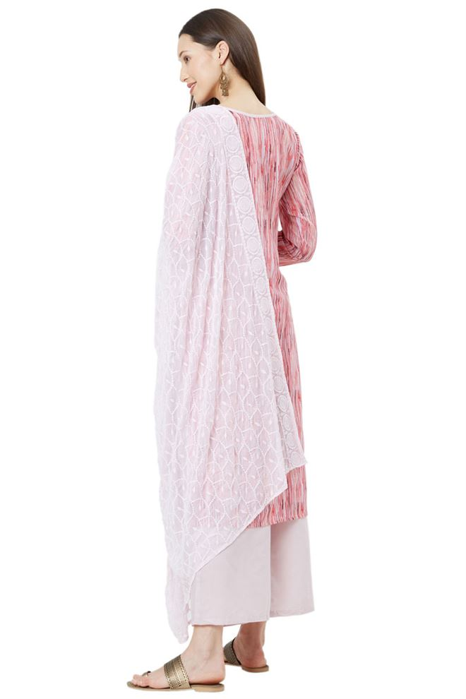 Faserz Cute Baby Pink Color Unstitched Muslin Suit Dupatta