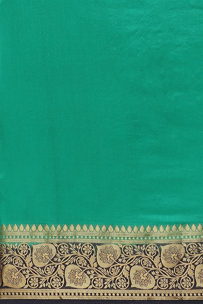 Fancy Art Silk Fabric Rama Color Saree With Weaving Work