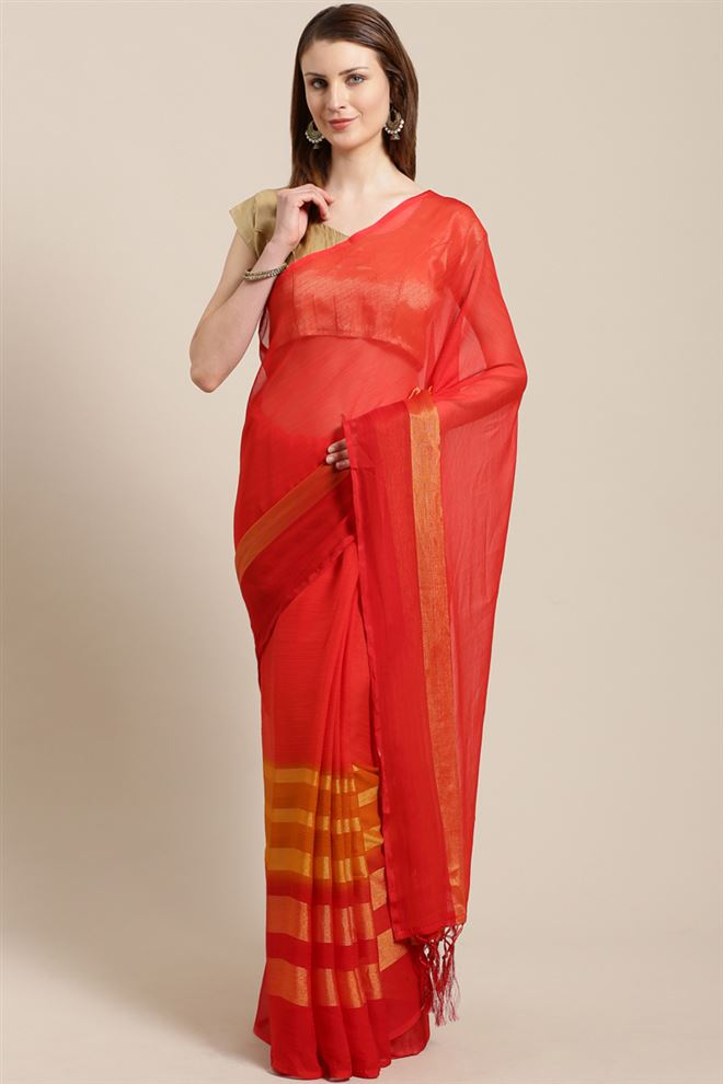 Fancy Chiffon Fabric Function Wear Saree In Red Color
