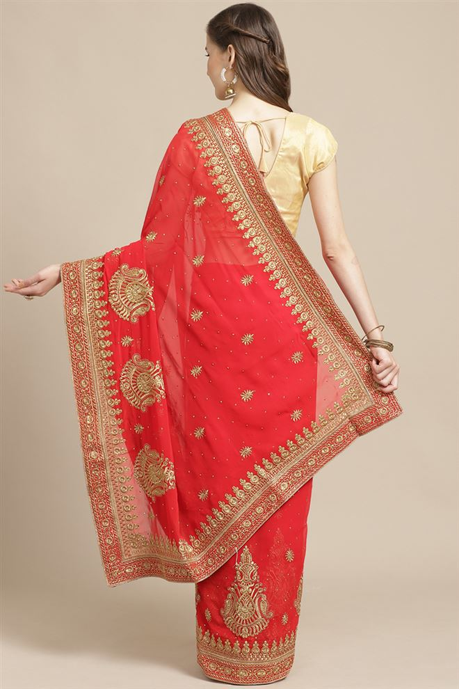 Fancy Embroidery Work On Red Color Georgette Fabric Sangeet Wear Saree