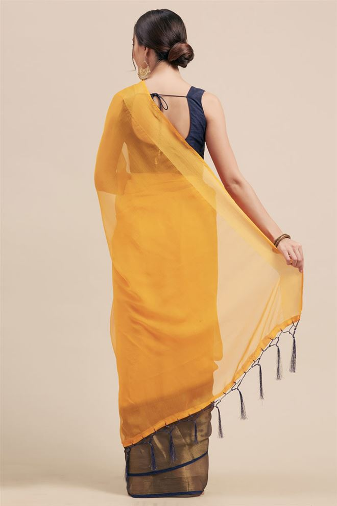 Festive Wear Fancy Chiffon Fabric Saree In Yellow Color
