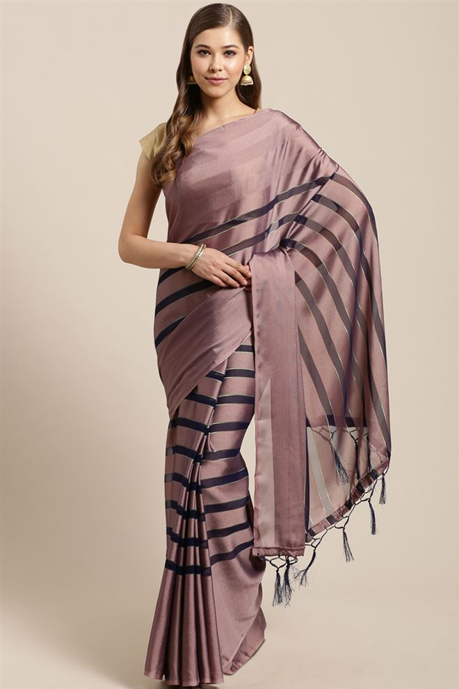 Faserz Function Wear Fancy Pink Color Chiffon Fabric Saree