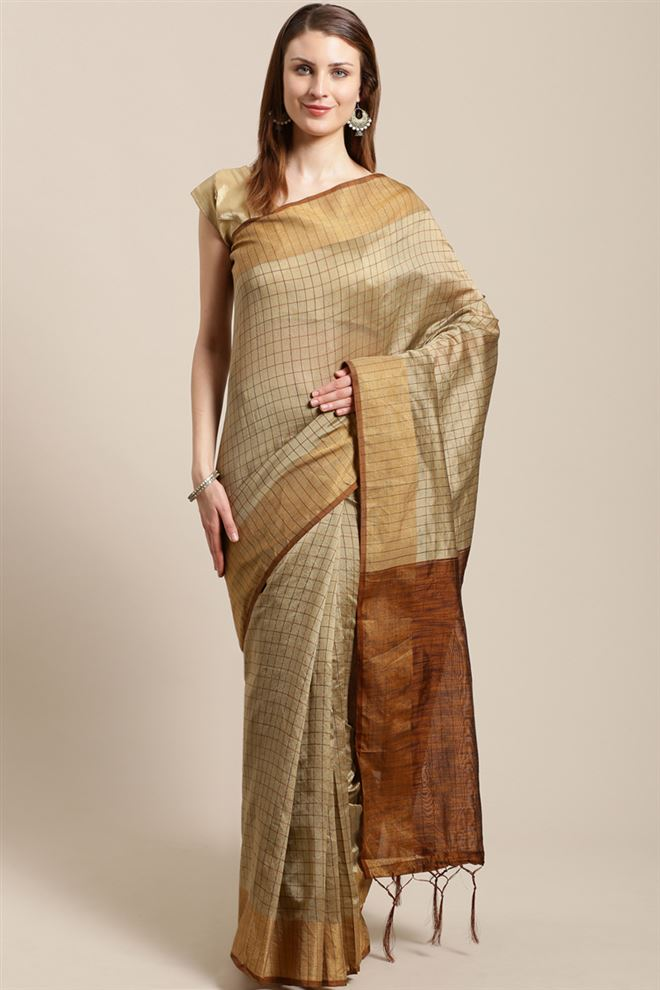 Faserz Gold Color Linen Cotton Fabric Function Wear Designer Saree