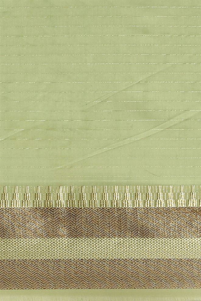 Faserz Green Color Checked Chanderi Silk Function Wear Saree