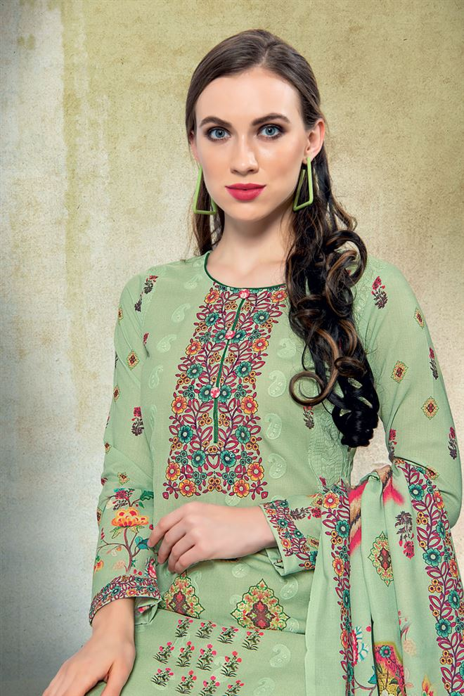 Green Color Cotton Fabric Fancy Printed And Embroidery Work Designer Salwar Kameez
