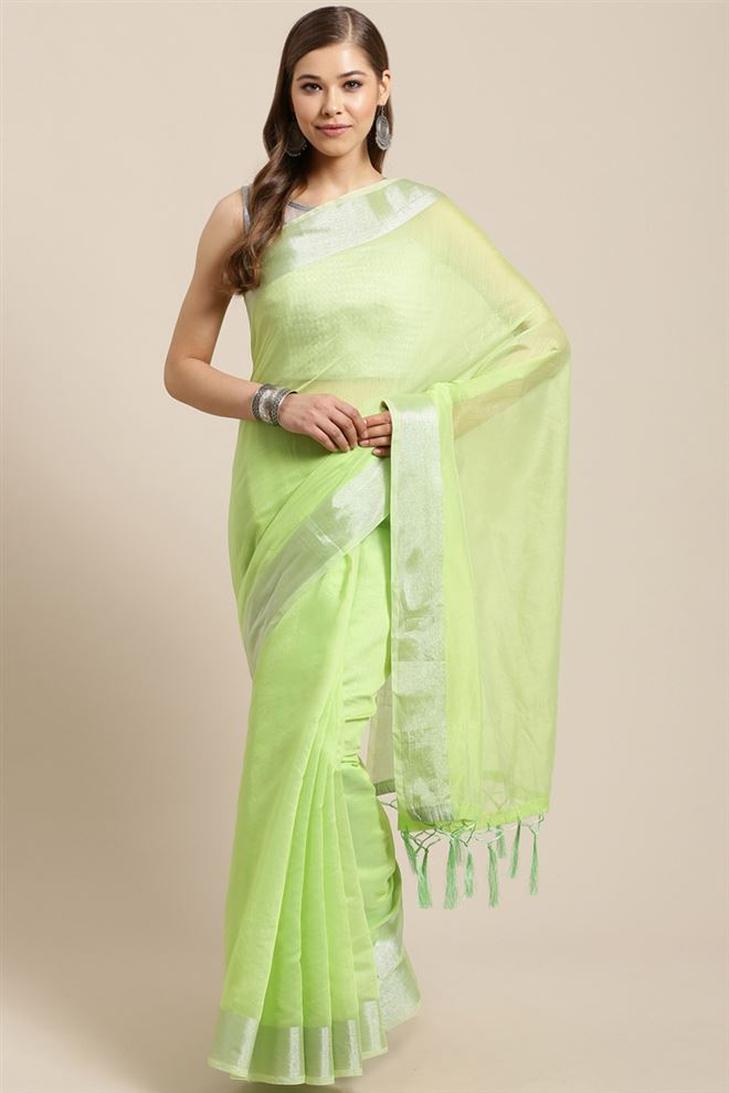 Green Color Linen Cotton Fabric Function Wear Designer Saree