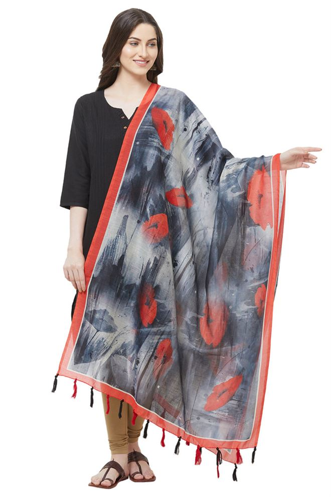 Faserz Grey Color Abstract Print Dupatta