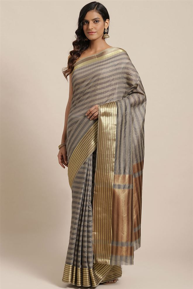 Faserz Grey Color Checked Chanderi Silk Saree