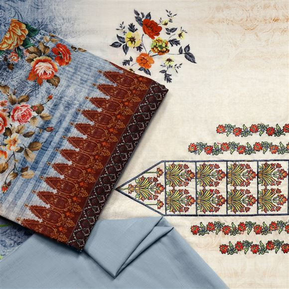 Faserz Grey color cotton voile embroidered digital print suit dupatta
