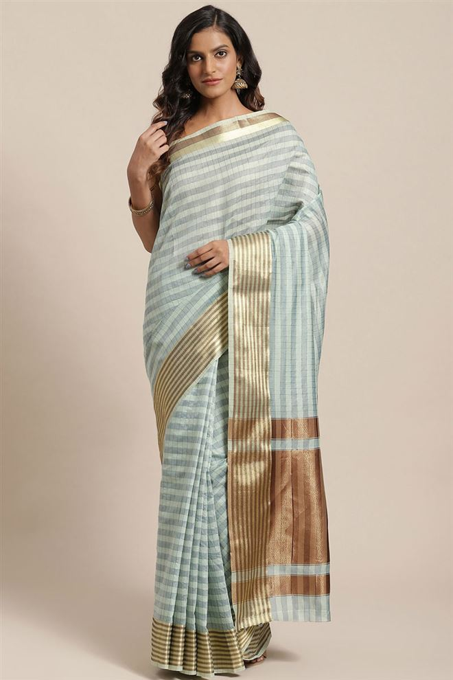Faserz Light Cyan Color Checked Chanderi Silk Saree