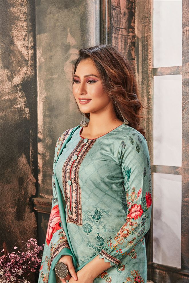 Faserz Light Cyan Color Cotton Fabric Function Wear Designer Printed Palazzo Salwar Kameez