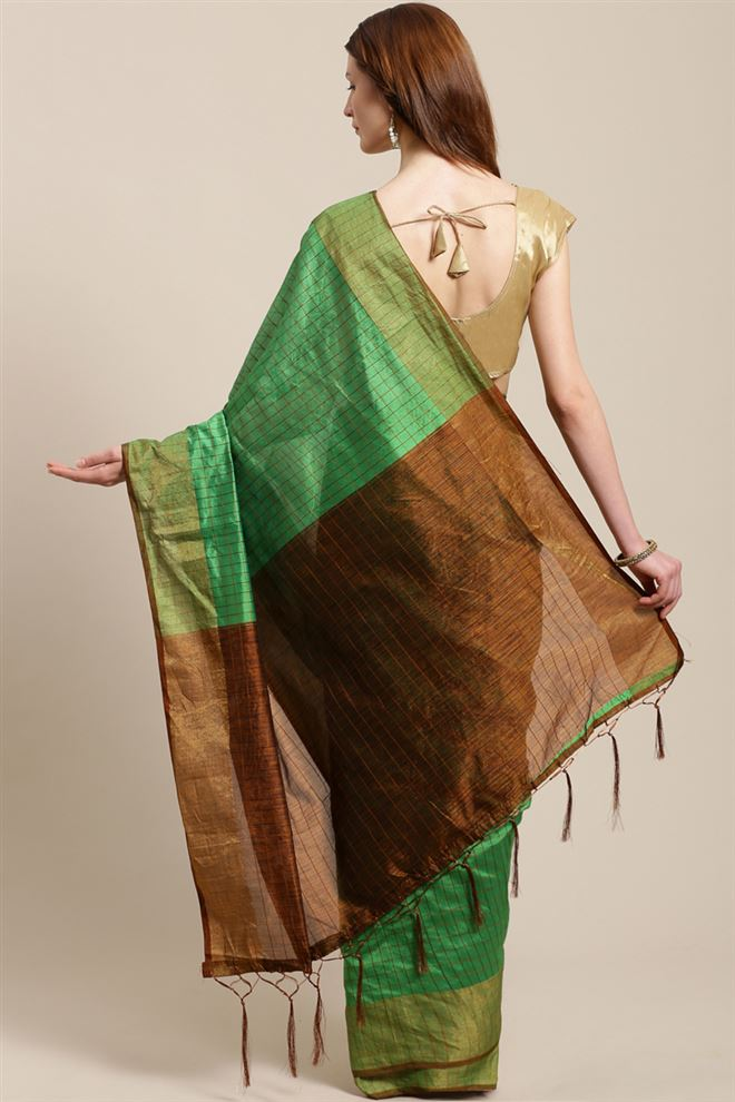 Faserz Linen Cotton Fabric Function Wear Green Color Saree