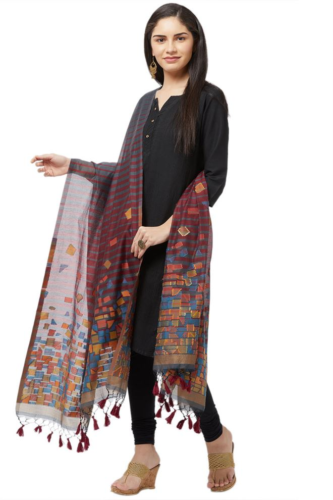 Faserz Maroon And Dark Grey Stripes Woven Matka Silk Jamdani Dupatta