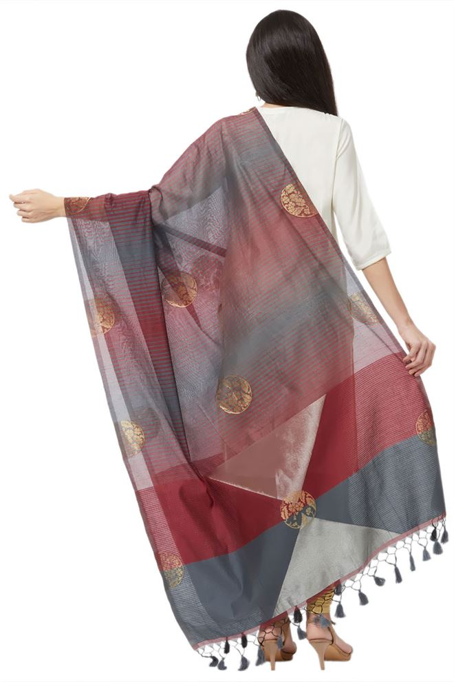 Faserz Maroon And Grey Woven Matka Silk Jamdani Dupatta