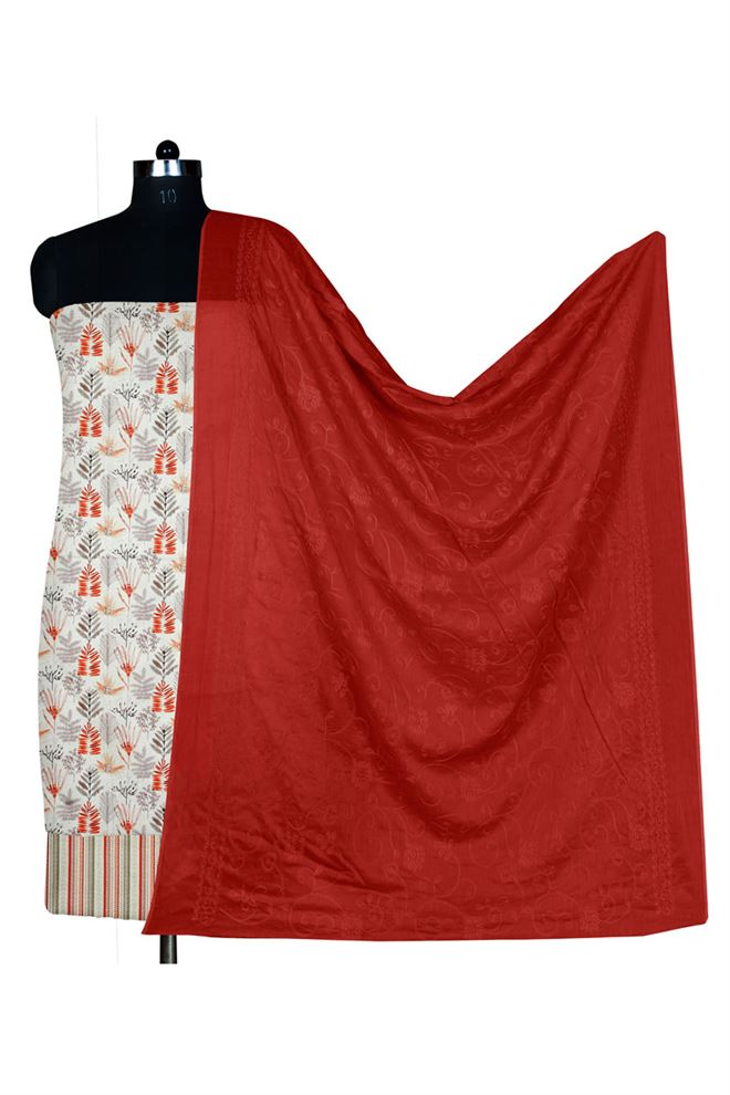 Off White And Maroon Color Unstitched Cotton Suit Dupatta